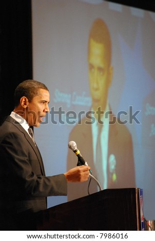 MCLEAN, VA - NOV 30, 2007: Senator Barack Obama speaking at the Democratic National Committee (DNC) meeting on November 30, 2007, in McLean, Virginia. - stock photo
