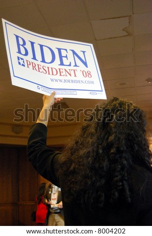 MCLEAN, VA - NOV 30, 2007: Senator Joe (Joseph) Biden's supporter holding a sign at the Democratic National Committee (DNC) meeting on November 30, 2007, in McLean, Virginia. - stock photo