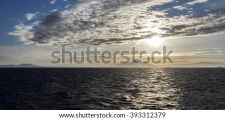 McMurdo Sound at sunset - stock photo