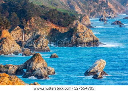 McWay Falls and Big Sur Coastline, California - stock photo