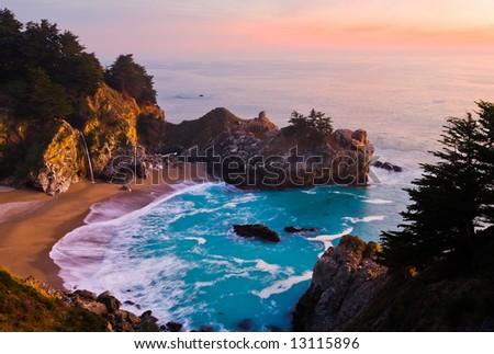 McWay Falls at Big Sur at sunset, California - stock photo