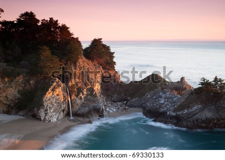 McWay Falls - Sunset at Julia Pfeiffer Burns State Park - stock photo