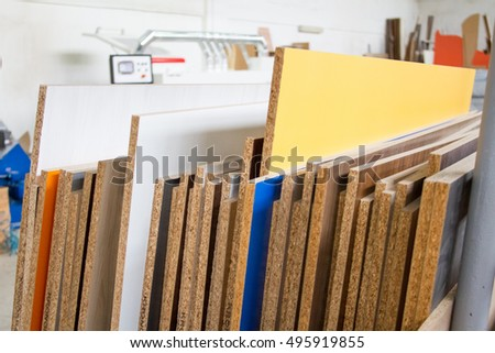 MDF, PARTICLE BOARD. Wood Panels Of Different Thicknesses And Colors.  Furniture Fittings For