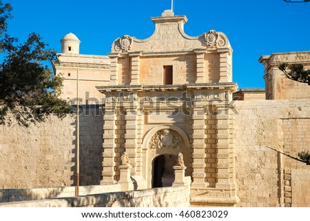Mdina city gate. Old fortress. Malta