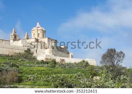 Mdina in winter. Malta. - stock photo