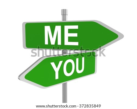 Me and you green road signs pointing in the different directions, 3d illustration - stock photo