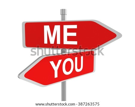 Me and you red road signs pointing in the different directions, 3d illustration - stock photo
