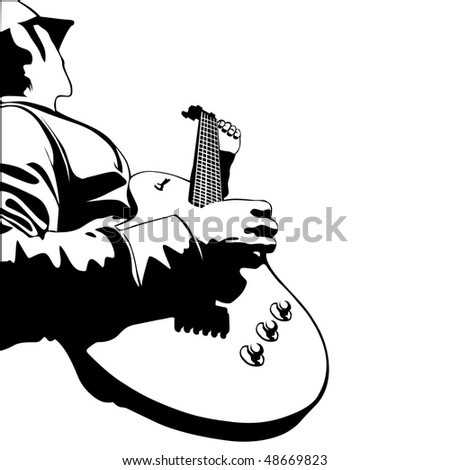 me playing electric guitar illustration - stock photo