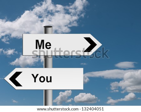 Me, you - different directions concept - stock photo
