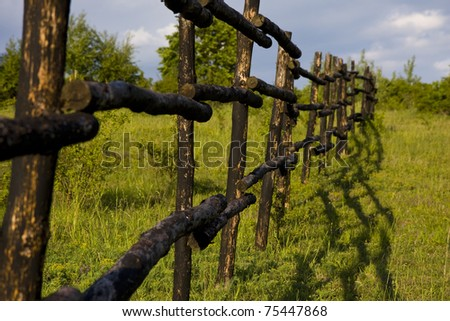 Meadow and wooden fence