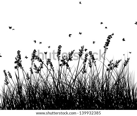 Meadow background with butterfly and flower - stock photo