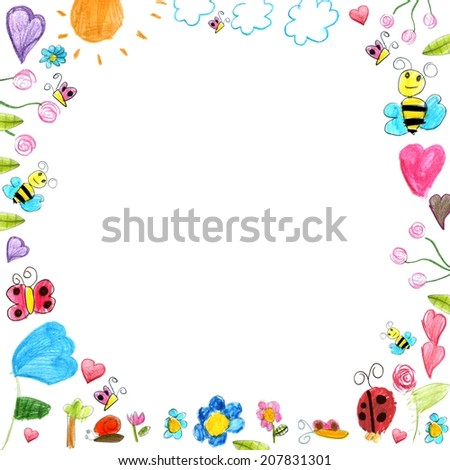 meadow frame - child scribbles drawings background isolated on white - stock photo