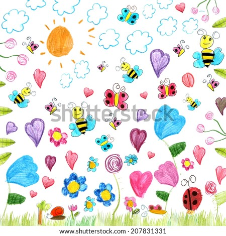 meadow scribbles - child drawings background isolated on white - stock photo
