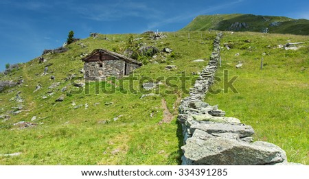 Meadow under Grossglockner peak in Hohe Tauern national park,Austria - stock photo