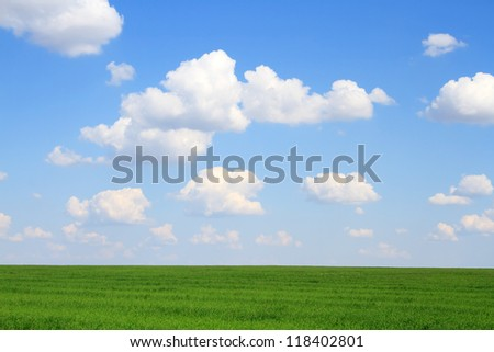 Meadow with green grass and blue sky with clouds - stock photo