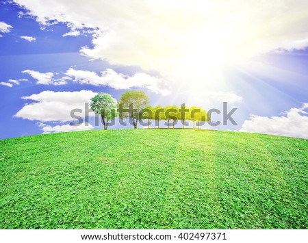 Meadow with green grass and trees under blue sky  - stock photo