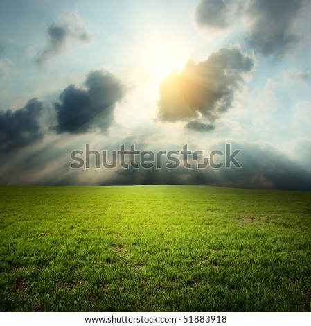 Meadow with green grass under clouds - stock photo