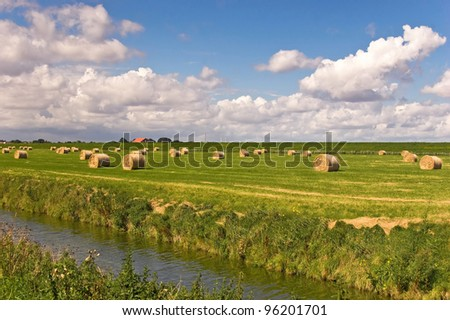 Meadow with straw with storm clouds turns green in the sunlight - stock photo