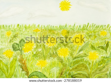 Meadow with yellow dandelions, hand painted picture, watercolours. - stock photo