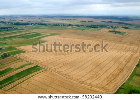 Meadows and fields. Aerial image. Rivne region, Ukraine. - stock photo