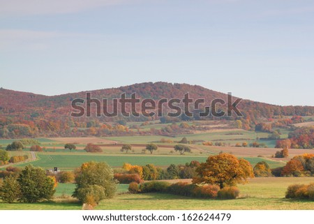 meadows and forests in german autumn, selective focus - stock photo