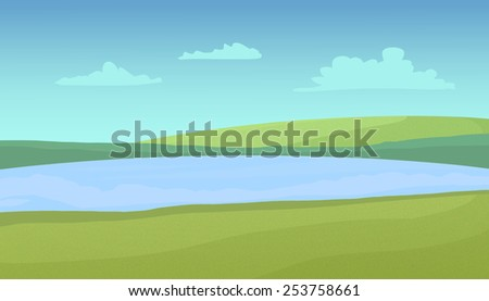 Meadows and lake on a sunny day with clouds. Digital raster illustration. - stock photo