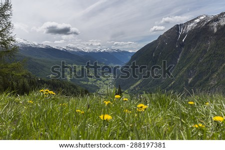 meadows and mountains of the Austrian Alps - stock photo