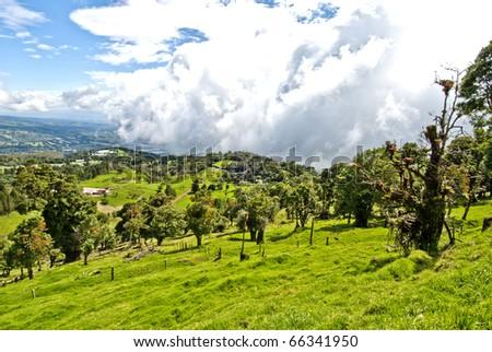 Meadows in Costa Rica highlands - stock photo