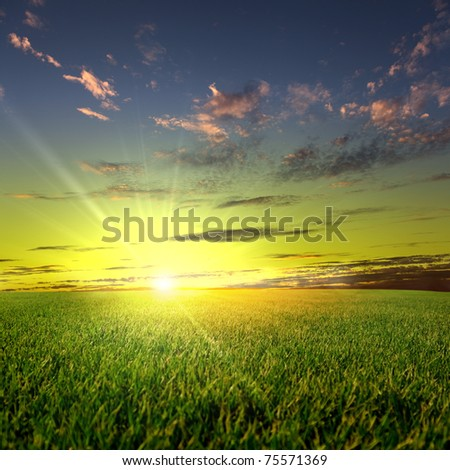 meadows landscape with clouds on the sky - stock photo