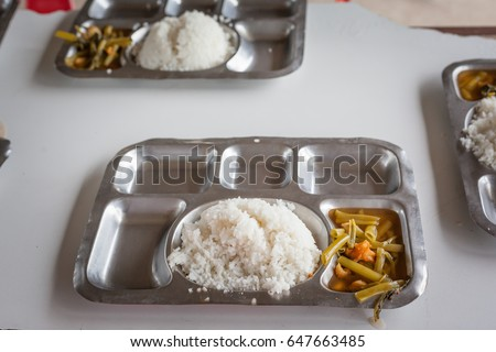 Meal of prisoners in prison in asia