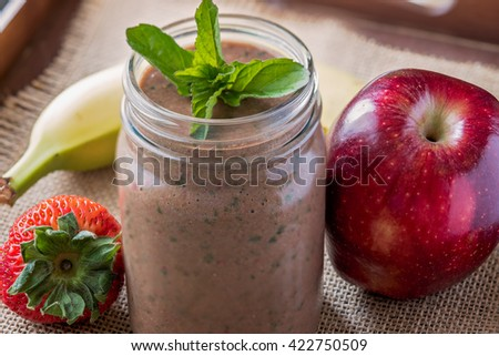 Meal replacement shake in a mason jar - stock photo