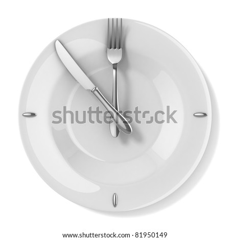 meal time - eating 3d concept - stock photo