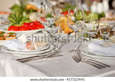 Meals served on wedding party table
