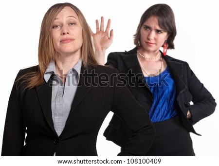Mean female co-workers over white background - stock photo