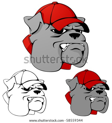 Mean looking bulldog mascot wearing a ball cap. Multiple color versions. Vector version available in portfolio. - stock photo