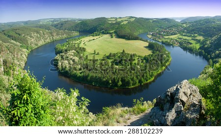 Meander of the river Vltava in the Czech Republic - stock photo