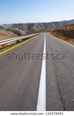 Meandering Road in Sand Hills of Judean Mountains, Israel