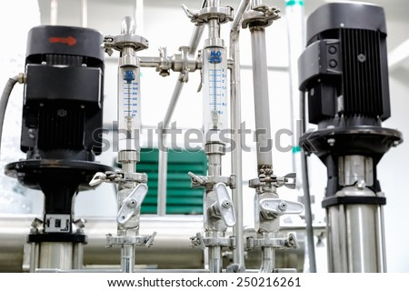 Measure equipment, pipe and pump on pharmaceutical industry or chemical plant