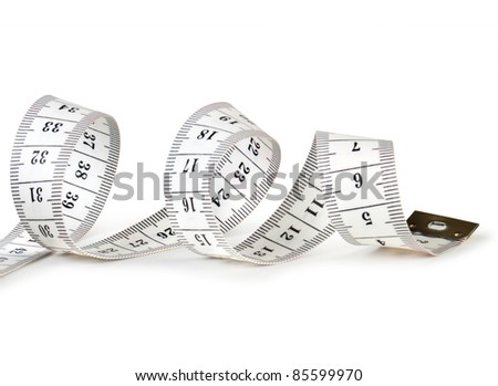 Measure tape. Isolated over white - stock photo