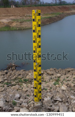 Measure the water level in the dam. - stock photo