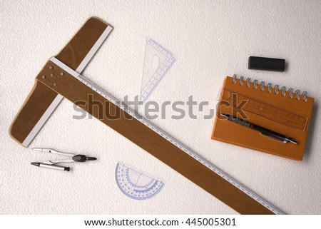 Measurement Instrument set isolated on white background or equipment for work architect. - stock photo