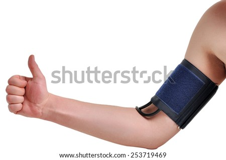 Measurement of blood pressure on a man's hand. Like. - stock photo