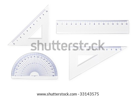 Measurement tools on white background with clipping path - stock photo