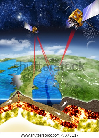 Measurements done with GPS satellites discover that coasts of Croatia and Italy are nearing each other 4 mm per year and in 50 to 70 million years there will be no seawater boundary between them. - stock photo