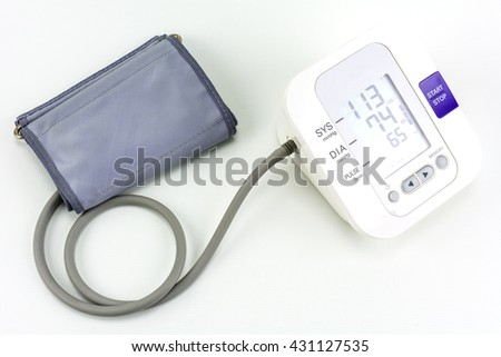 Measuring blood pressure on a white background.