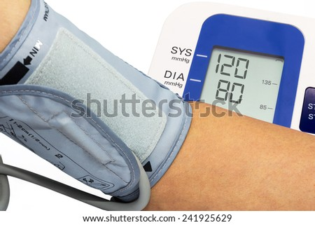 measuring blood pressure with blood pressure gage  - stock photo
