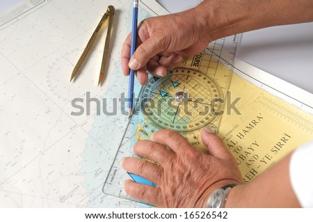 Measuring Distance On A Map With A School Compass - stock photo