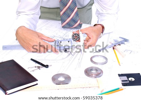 measuring instrument assign for part sensing and size process surface - stock photo