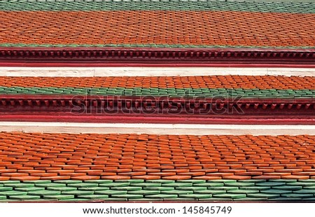Measuring metal Castle roof tiles in thai.  - stock photo