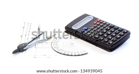 Measuring on the construction drawings against white background - stock photo